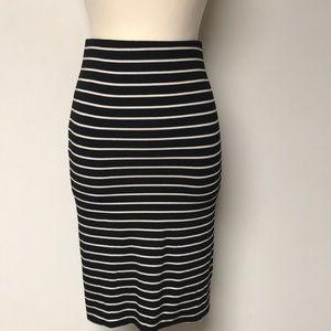 Black & White Striped LOFT skirt